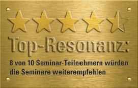 Top-Resonanz: 8 von 10 Seminar-Teilnehmern empfehlen die Seminare weiter